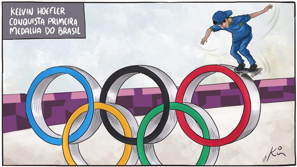 CHARGE: Kelvin Hoefler conquista a primeira medalha do Brasil